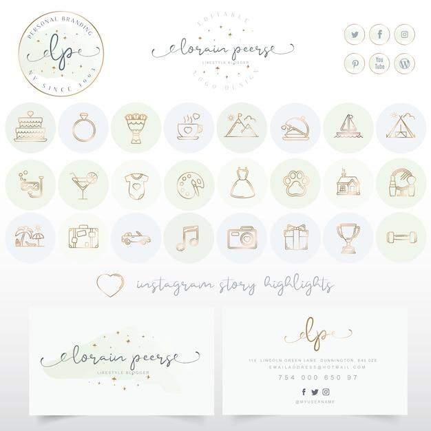 Design de logotipo com cartão e conjunto de ícones Vetor Premium