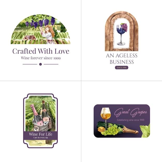 Design de logotipo com conceito de fazenda de vinho para ilustração de aquarela de marca e marketing. Vetor grátis
