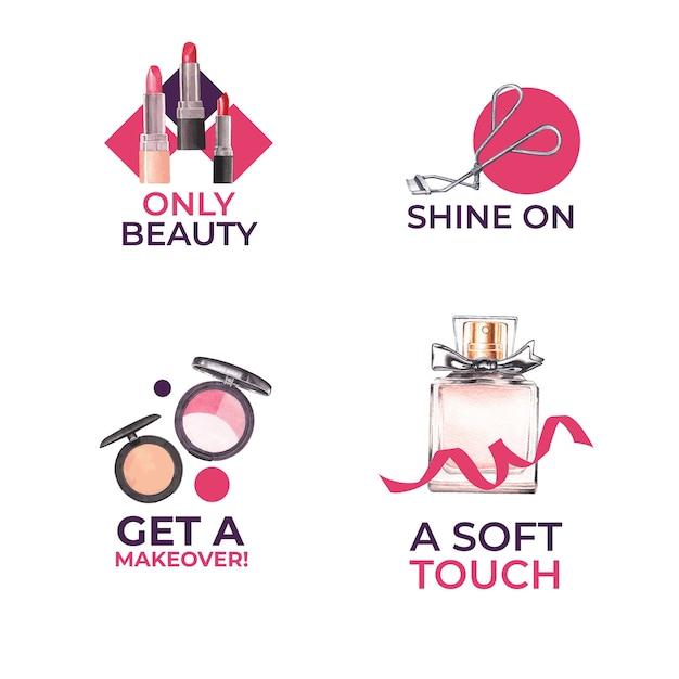 Design de logotipo com conceito de maquiagem para aquarela de branding e marketing. Vetor grátis