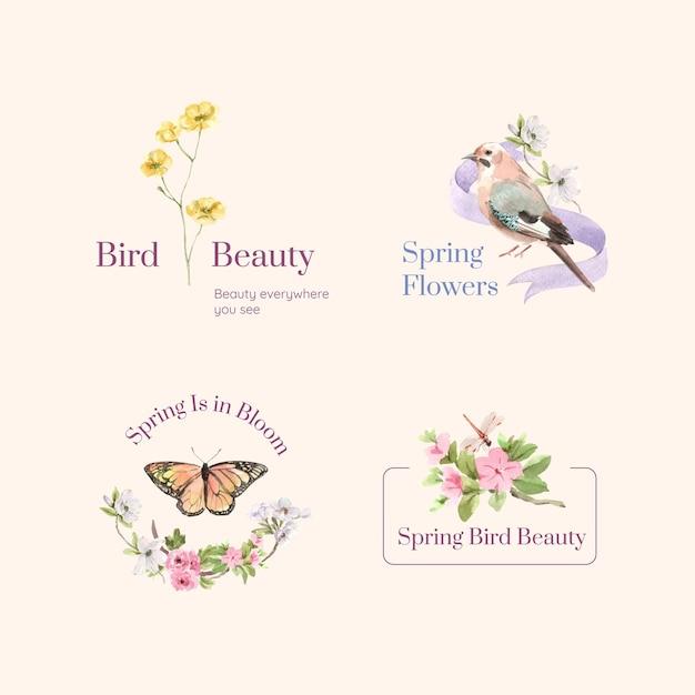 Design de logotipo com conceito de primavera e pássaro para ilustração de aquarela de marca e marketing Vetor grátis