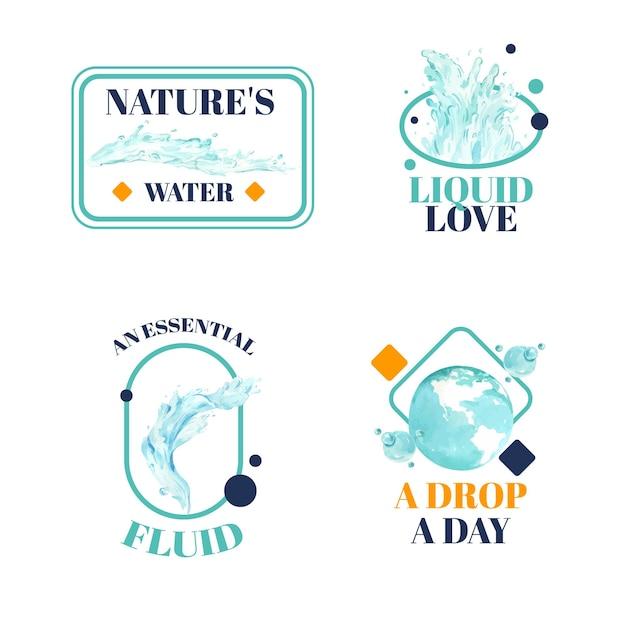 Design de logotipo com ilustração em aquarela do conceito do dia mundial da água Vetor grátis