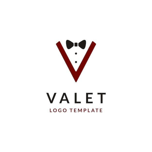 Design de logotipo com letra inicial v e gravata borboleta Vetor Premium