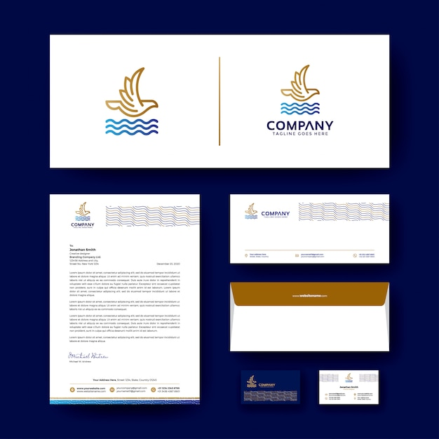 Design de logotipo com modelo de design de identidade corporativa editável Vetor Premium