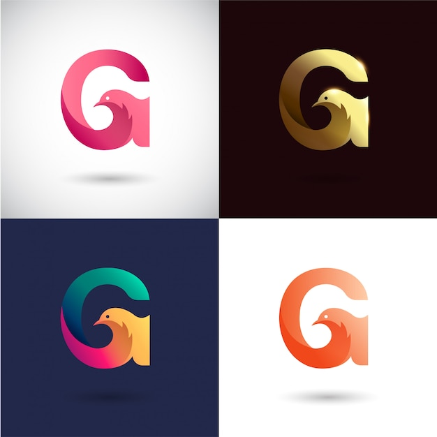 Design de logotipo criativo letra g Vetor Premium