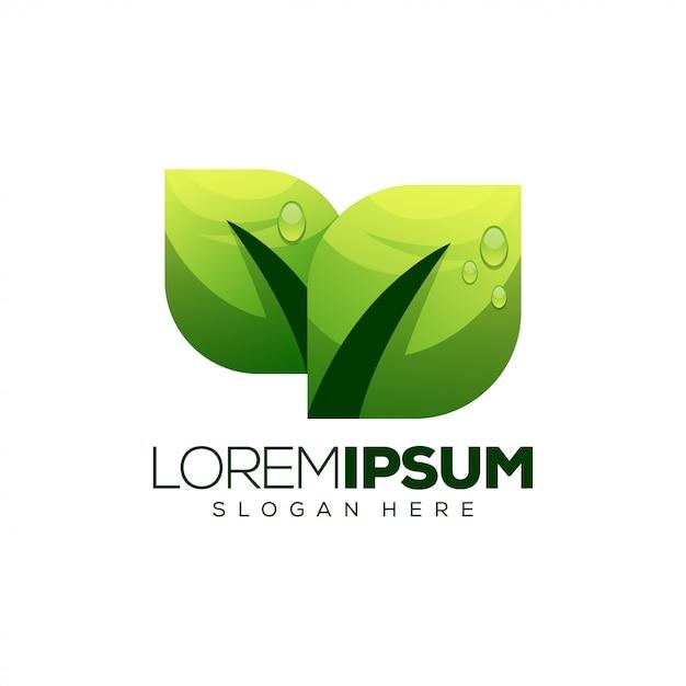 Design de logotipo da folha Vetor Premium