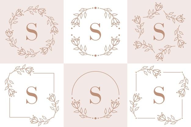 Design de logotipo da letra s com elemento de folha de orquídea Vetor Premium