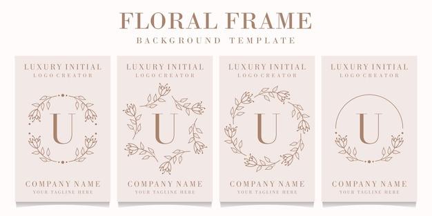 Design de logotipo da letra u com modelo de moldura floral Vetor Premium