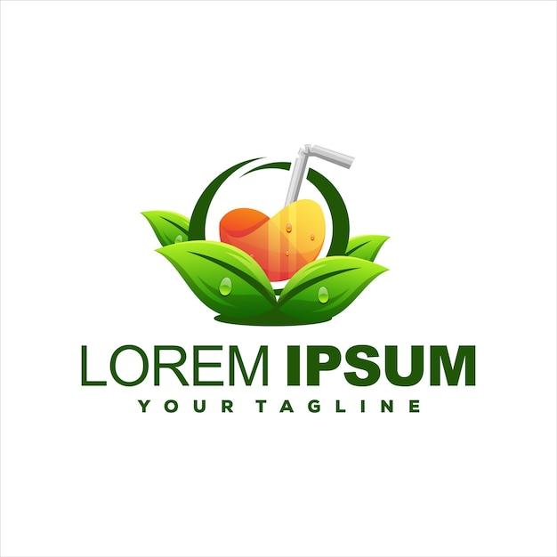 Design de logotipo da natureza juice orange Vetor Premium