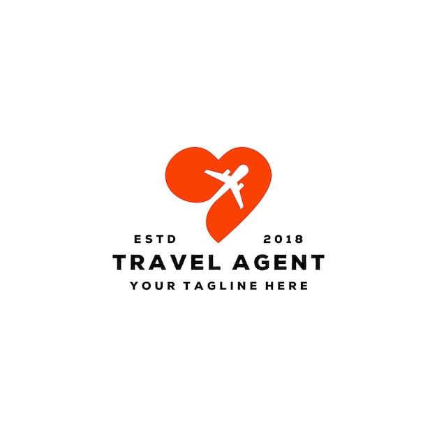 Design de logotipo de agente de viagens de amor criativo Vetor Premium