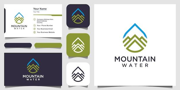 Design de logotipo de água combinado com estilo de arte de linha de montanha e design de cartão de visita Vetor Premium