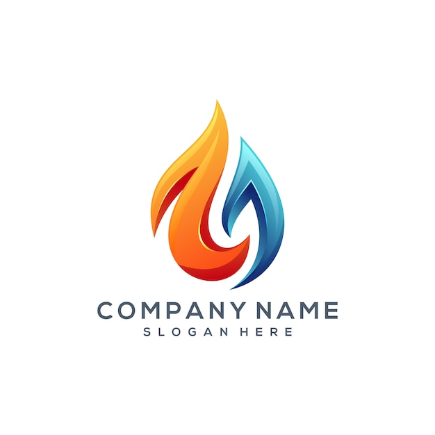 Design de logotipo de água de fogo Vetor Premium