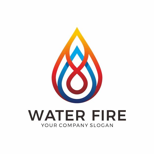 Design de logotipo de água e fogo Vetor Premium
