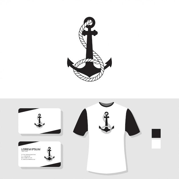 Design de logotipo de âncora com cartão de visita e camiseta maquete Vetor Premium