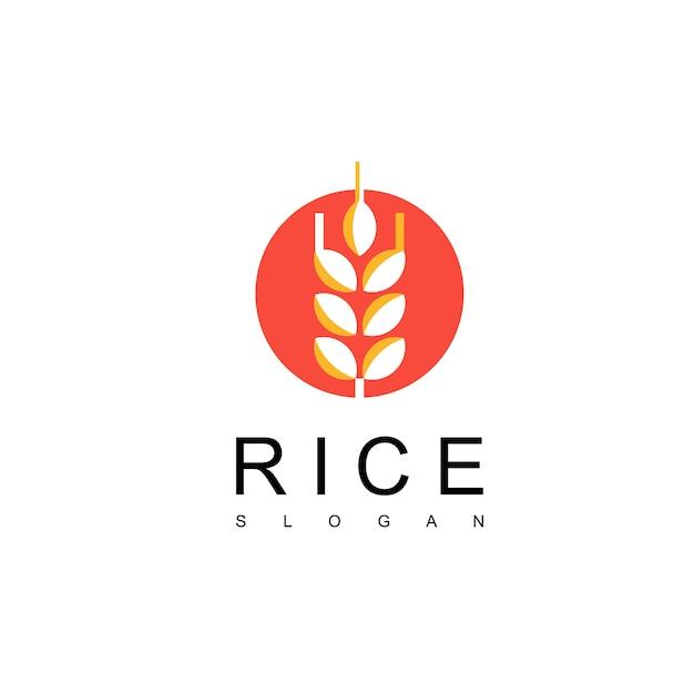 Design de logotipo de arroz japonês Vetor Premium
