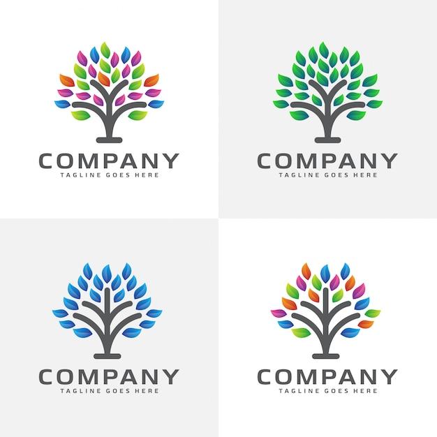 Design de logotipo de árvore abstrata Vetor Premium