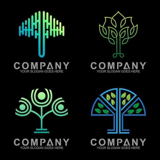 Design de logotipo de árvore de luxo minimalista com estilo de estrutura de tópicos Vetor Premium