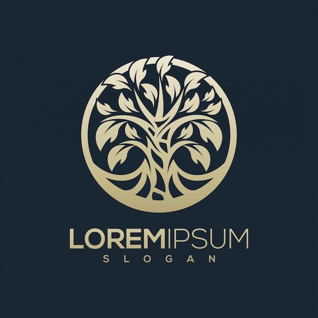 Design de logotipo de árvore dourada pronto para uso Vetor Premium