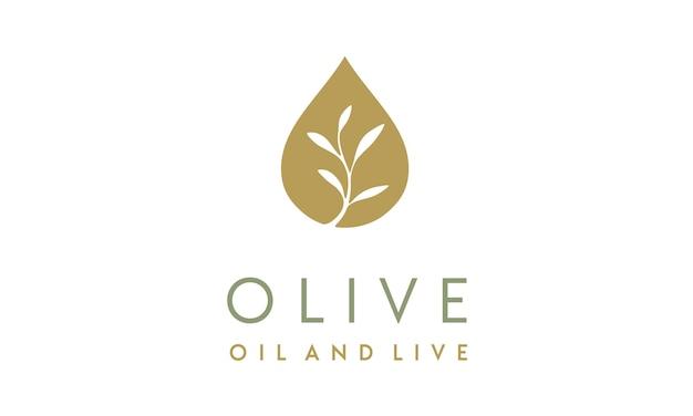 Design de logotipo de azeite / gotículas e flor Vetor Premium