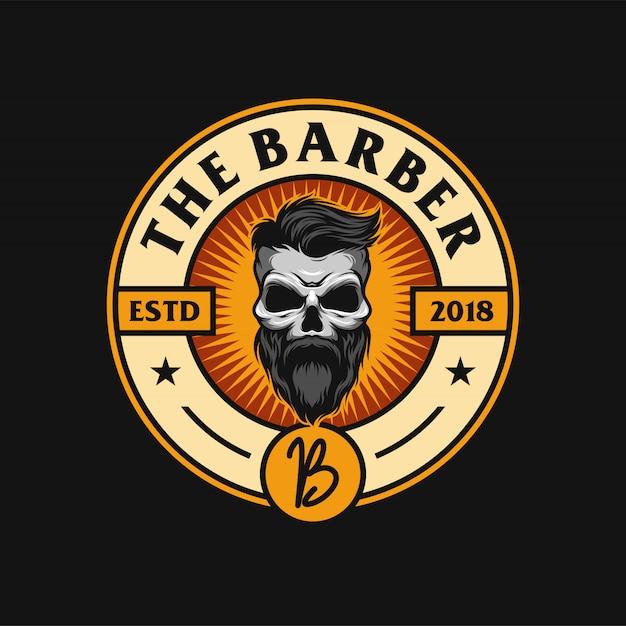 Design de logotipo de barba caveira Vetor Premium