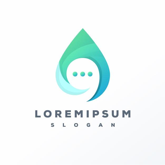 Design de logotipo de bate-papo na água pronto para uso Vetor Premium