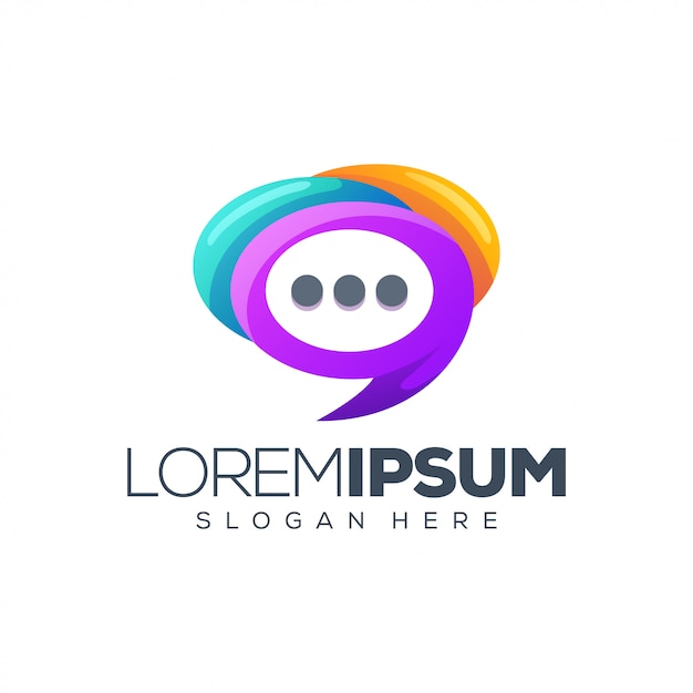 Design de logotipo de bate-papo Vetor Premium