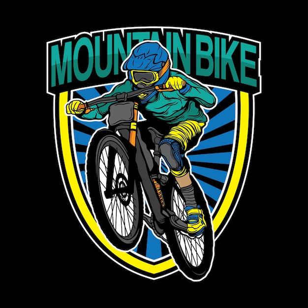 Design de logotipo de bicicleta de montanha Vetor Premium