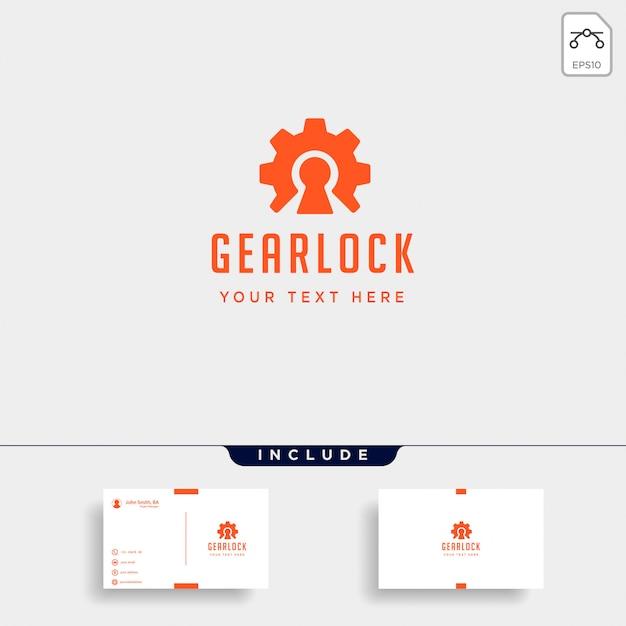 Design de logotipo de bloqueio de engrenagem proteger o ícone de vetor de indústria isolado Vetor Premium