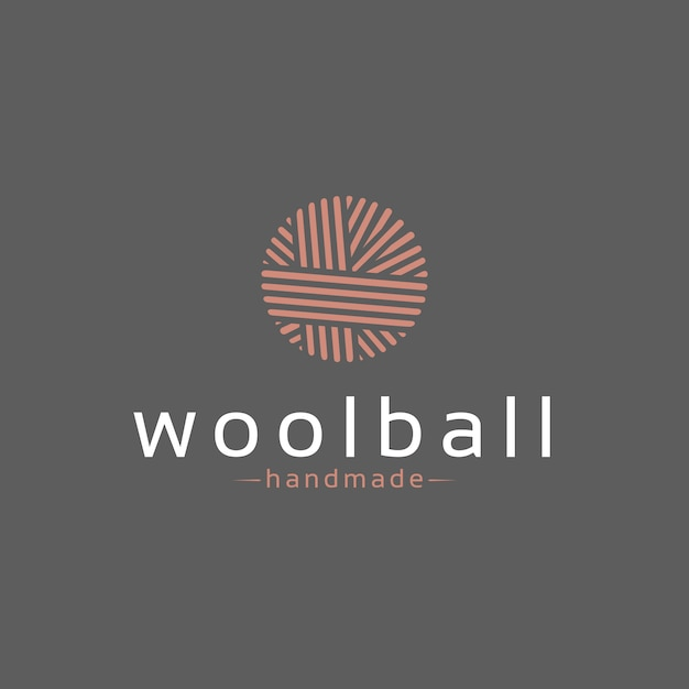 Design de logotipo de bola de lã Vetor Premium