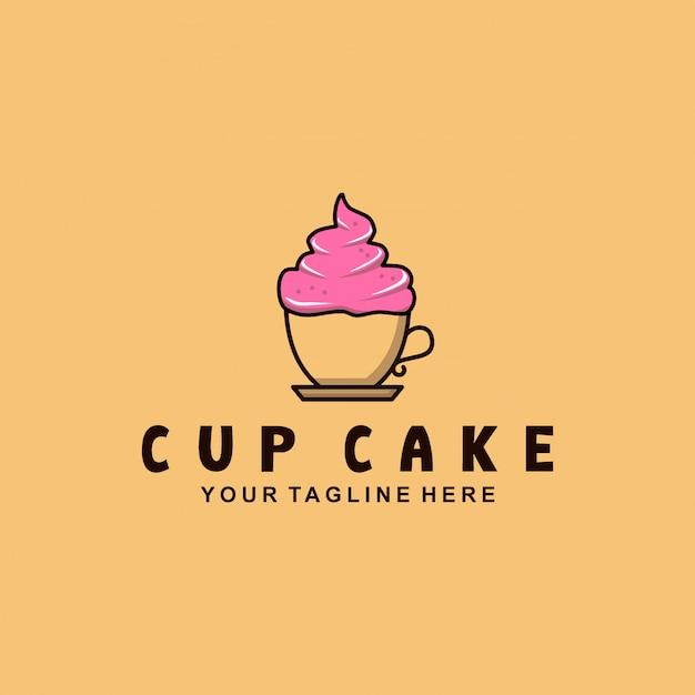 Design de logotipo de bolo de xícara com estilo simples Vetor Premium