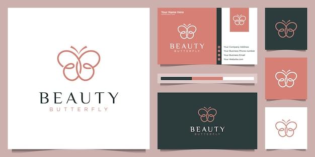 Design de logotipo de borboleta e cartão de visita. conceito de logotipo de beleza com estilo de forro de loop infinito. Vetor Premium
