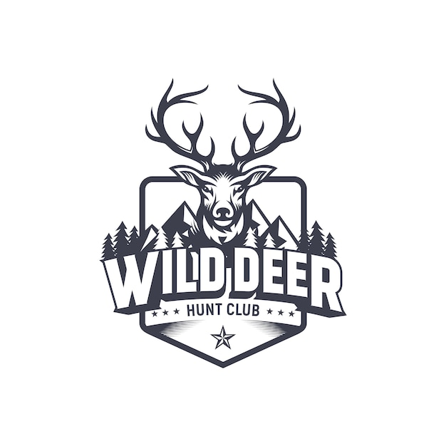 Design de logotipo de caçador de veados vintage Vetor Premium