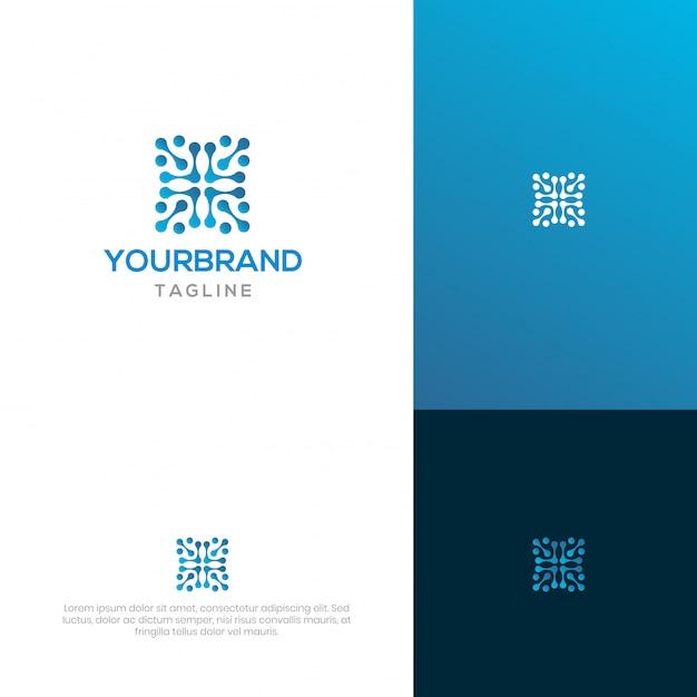 Design de logotipo de cadeia de bloco Vetor Premium