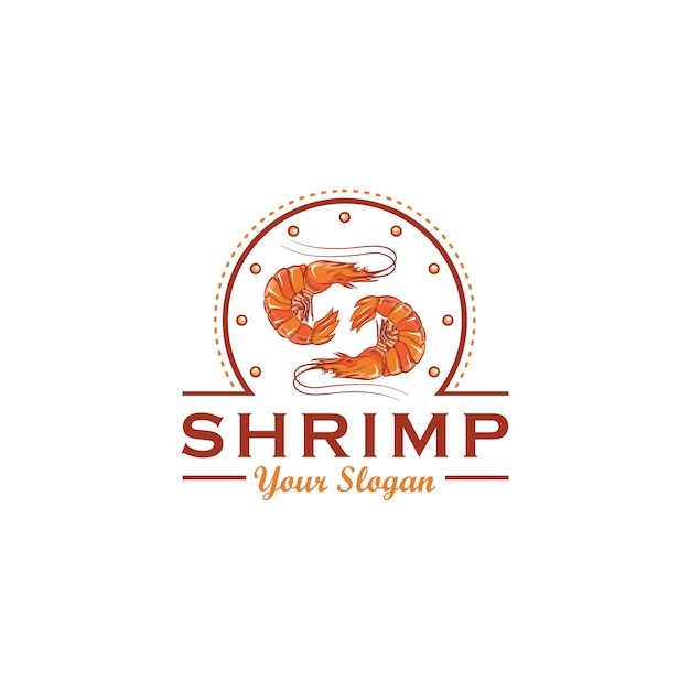 Design de logotipo de camarão Vetor Premium