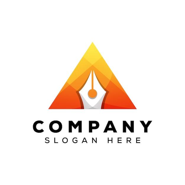 Design de logotipo de caneta triângulo, letra um logotipo de caneta Vetor Premium