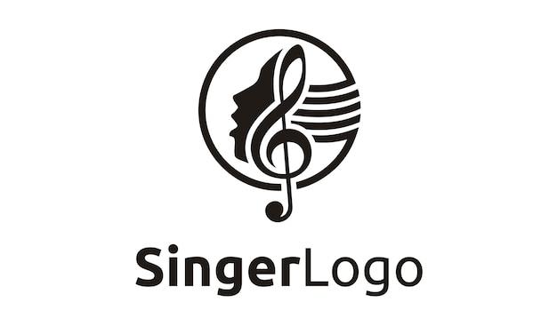 Design de logotipo de cantor / coro Vetor Premium