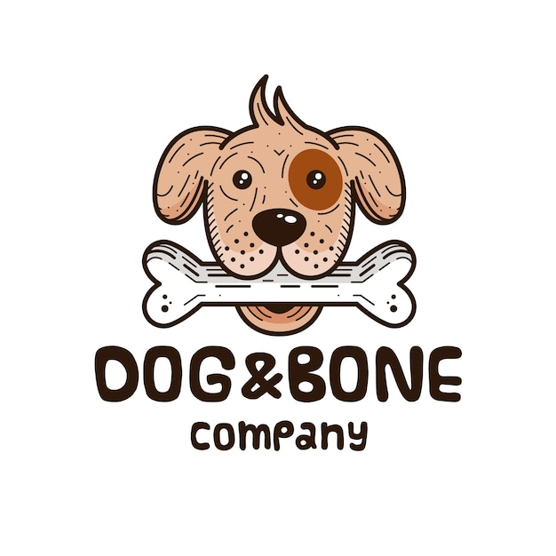 Design de logotipo de cão e osso Vetor Premium