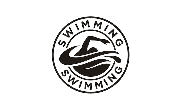 Design de logotipo de carimbo de natação Vetor Premium