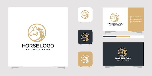 Design de logotipo de cavalo e modelo de cartão de visita Vetor Premium