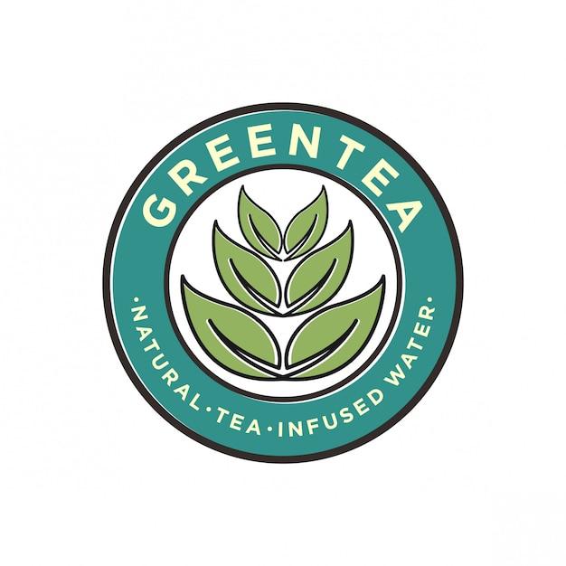 Design de logotipo de chá verde Vetor Premium