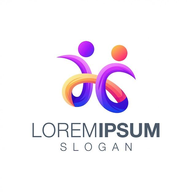 Design de logotipo de coleção gradiente de pessoas Vetor Premium