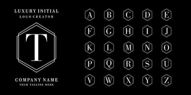 Design de logotipo de coleção inicial Vetor Premium