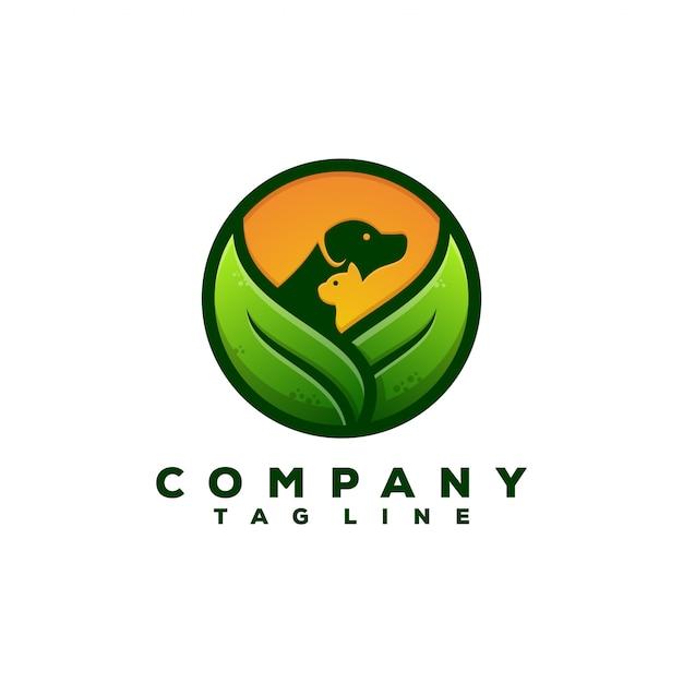Design de logotipo de comida de animais de natureza Vetor Premium