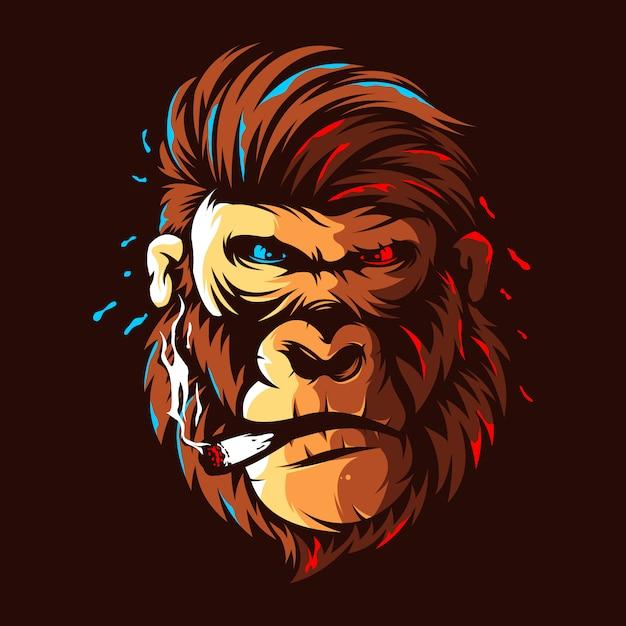 Design de logotipo de cor de ilustração de cabeça de gorila Vetor Premium