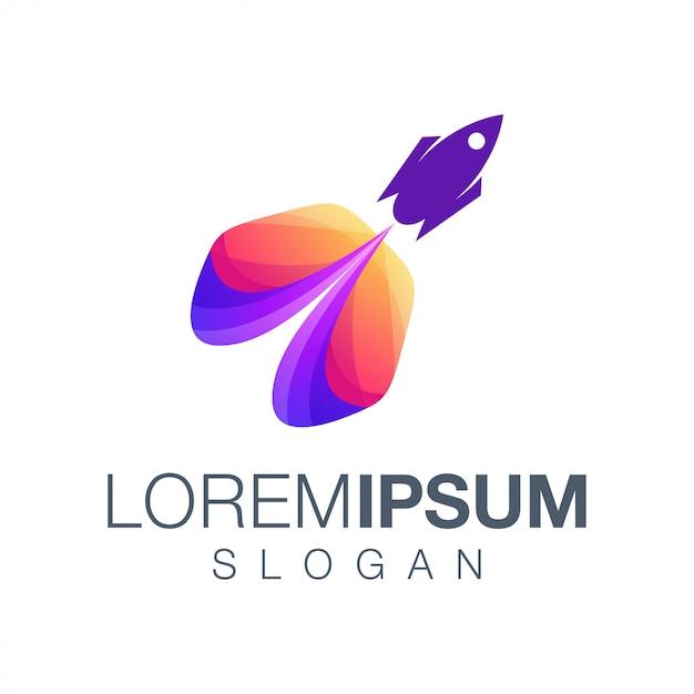 Design de logotipo de cor gradiente de foguete Vetor Premium