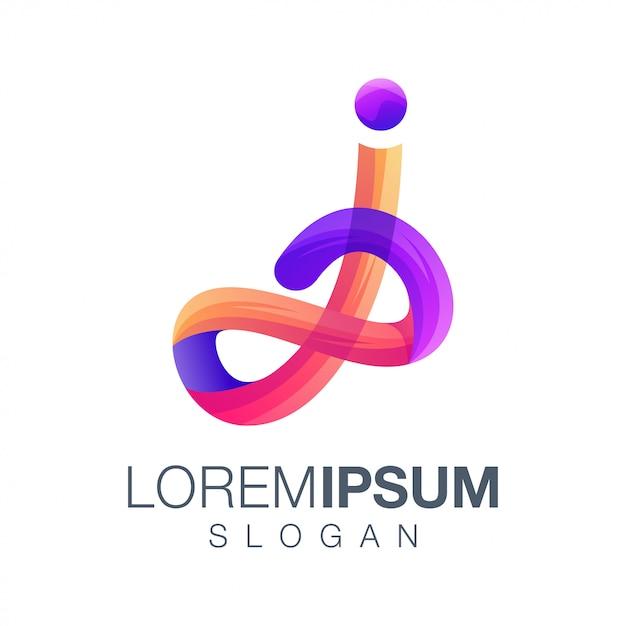 Design de logotipo de cor gradiente letra j Vetor Premium
