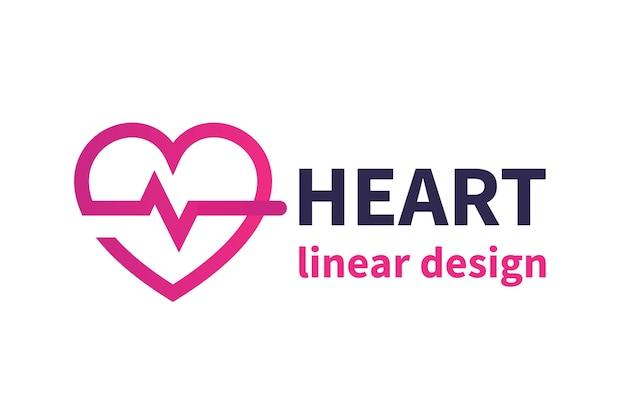 Design de logotipo de coração, cardiologia, medicina, cardiologista Vetor Premium
