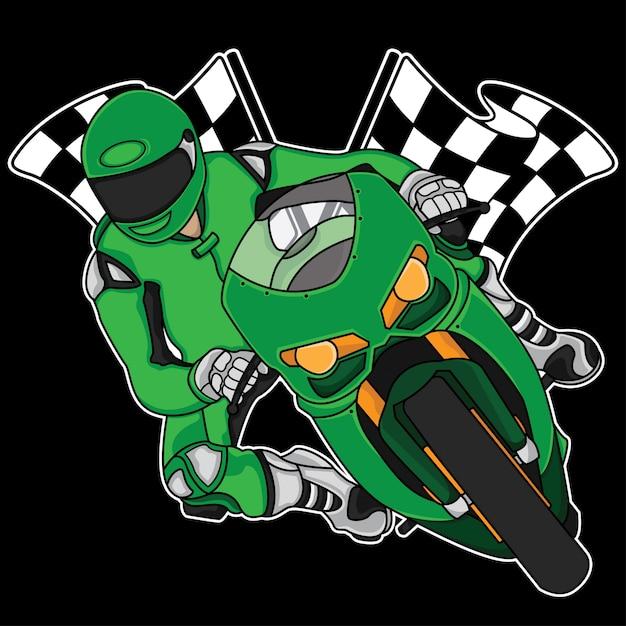 Design de logotipo de corrida de moto Vetor Premium