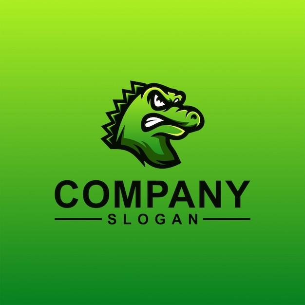 Design de logotipo de crocodilo Vetor Premium