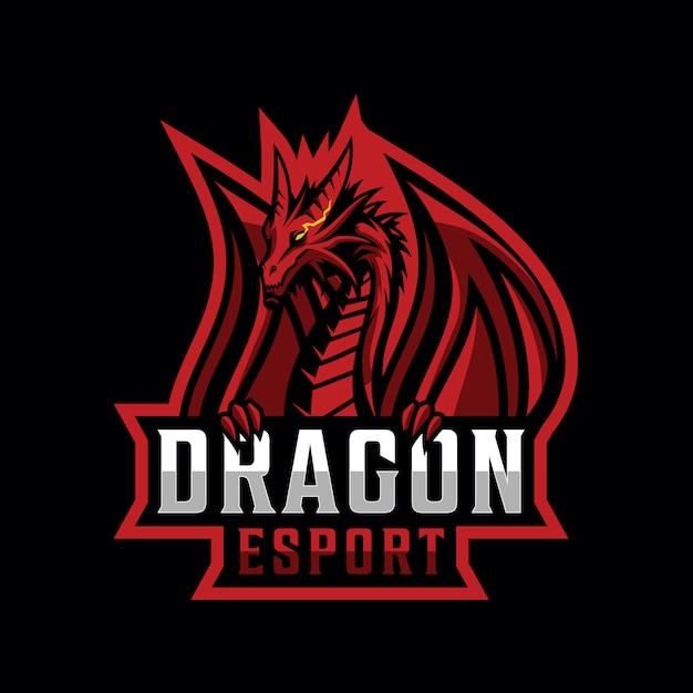 Design de logotipo de dragão para esporte de jogos Vetor Premium