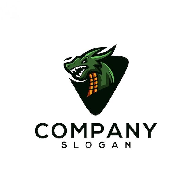 Design de logotipo de dragão Vetor Premium